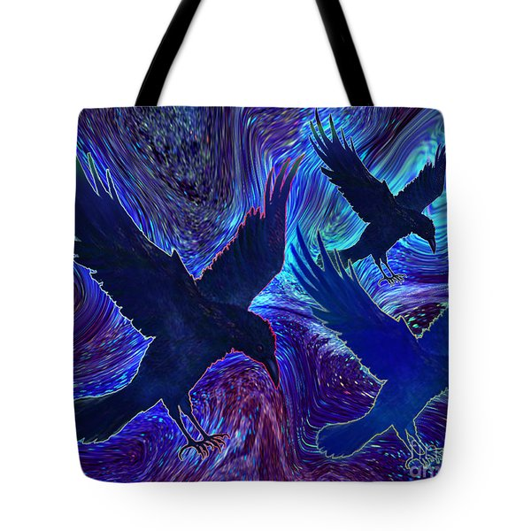 Tote Bag featuring the painting Ravens On Blue by Teresa Ascone