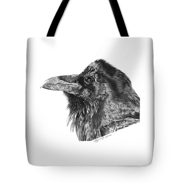 Tote Bag featuring the drawing Ravenscroft The Raven by Abbey Noelle