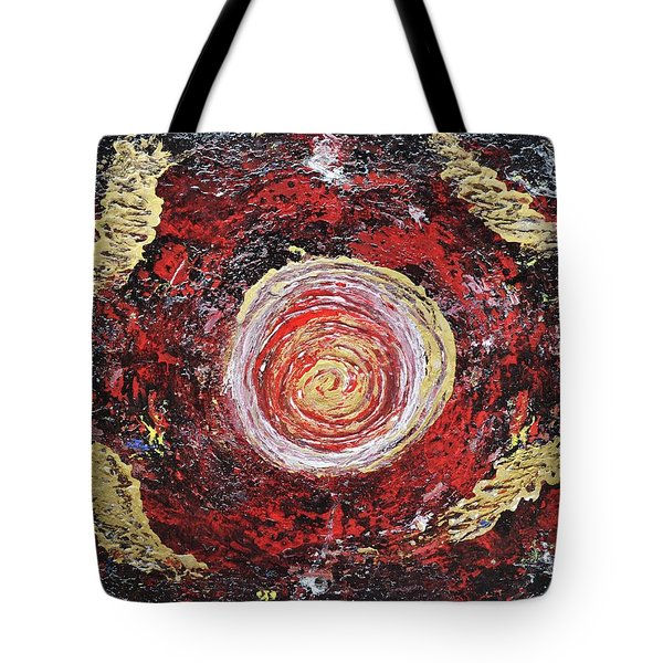 Raw Harmony Red And Gold Art Tote Bag