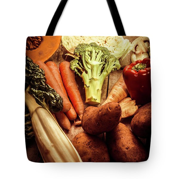 Raw Vegetables On Wooden Background Tote Bag by Jorgo Photography - Wall Art Gallery