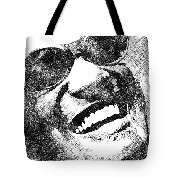 Ray Charles Bw Portrait Tote Bag by Mihaela Pater