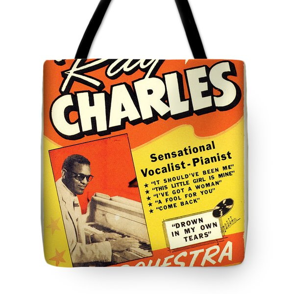 Ray Charles Rock N Roll Concert Poster 1950s Tote Bag