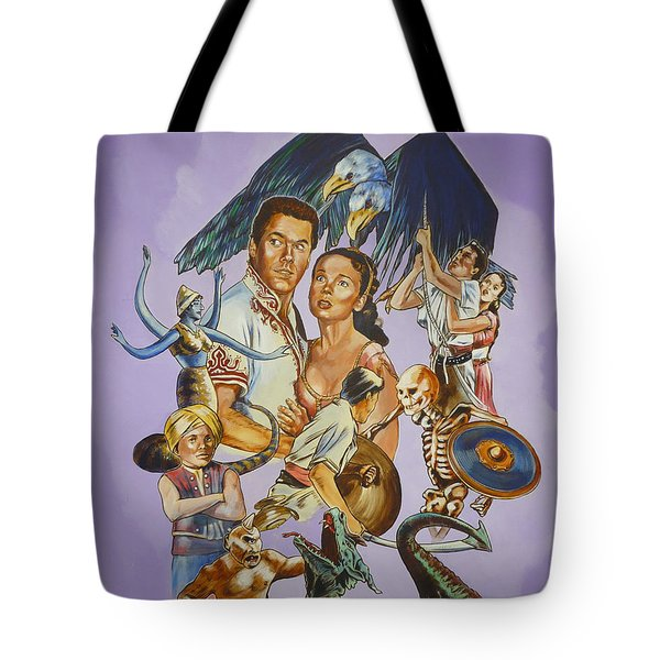 Tote Bag featuring the painting Ray Harryhausen Tribute Seventh Voyage Of Sinbad by Bryan Bustard