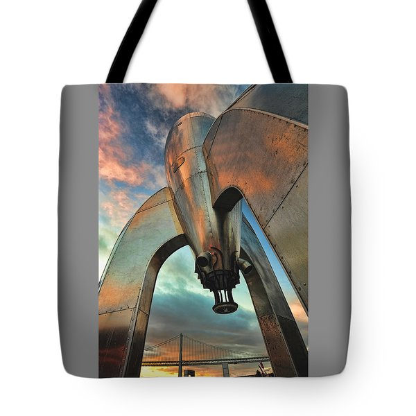 Tote Bag featuring the photograph Raygun Gothic Rocketship Blast-off by Steve Siri
