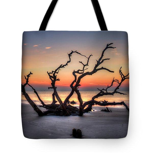 Tote Bag featuring the photograph Reaching Driftwood Beach Sunrise Jekyll Island Georgia Art by Reid Callaway