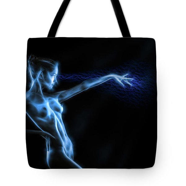 Reaching Figure Darkness Tote Bag by Rikk Flohr