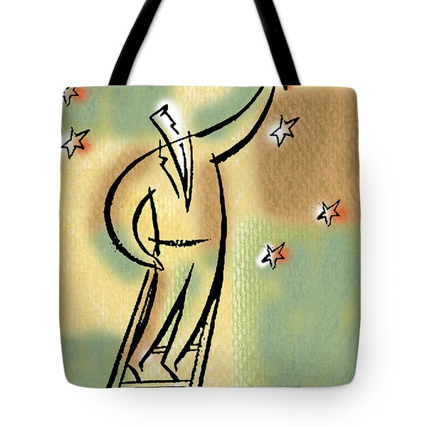 Tote Bag featuring the painting Reaching For The Star by Leon Zernitsky