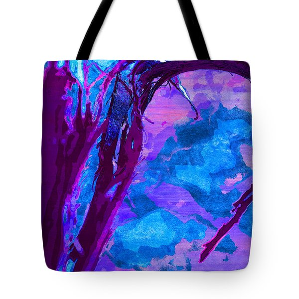Reaching Into Blue Tote Bag
