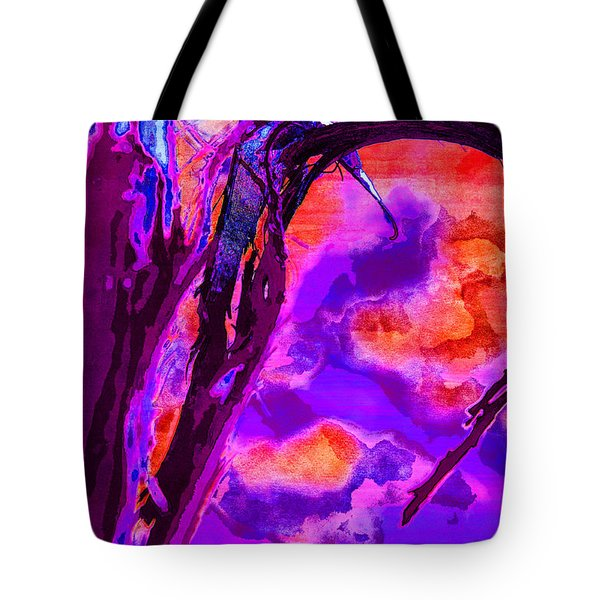 Reaching To Purple Clouds Tote Bag