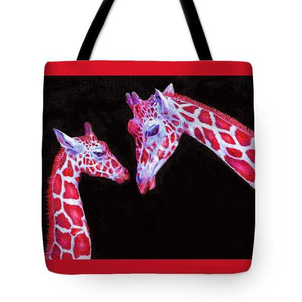 Tote Bag featuring the digital art Read And Black Giraffes by Jane Schnetlage