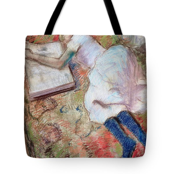 Reader Lying Down Tote Bag by Edgar Degas