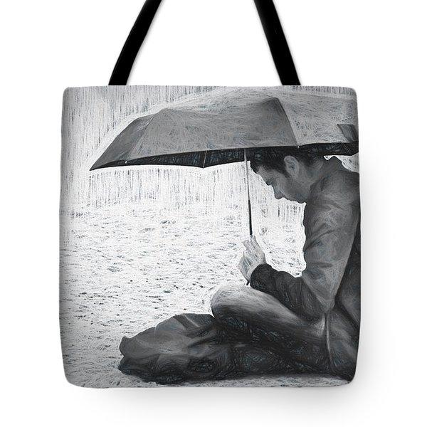 Reading In The Rain - Umbrella Tote Bag