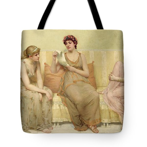 Reading The Story Of Oenone Tote Bag by Francis Davis Millet
