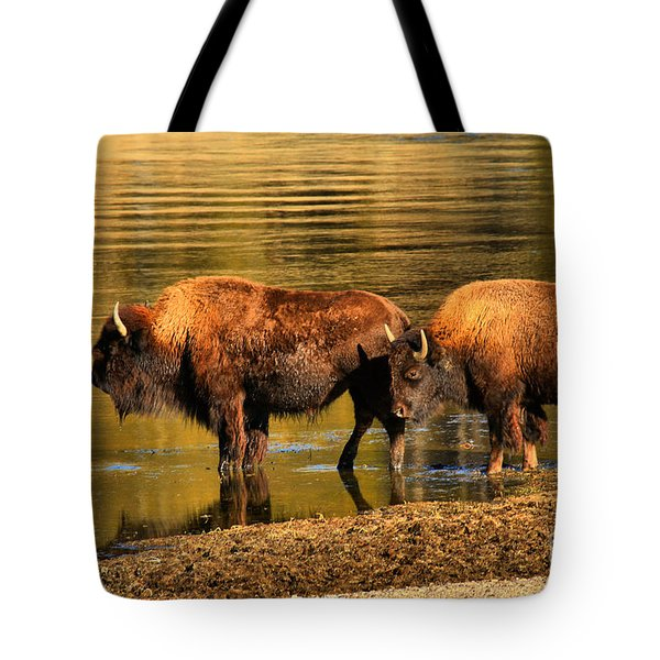 Tote Bag featuring the photograph Ready To Cross The Yellowstone by Adam Jewell