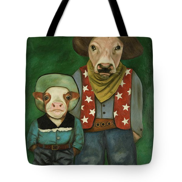 Real Cowboys 3 Tote Bag by Leah Saulnier The Painting Maniac