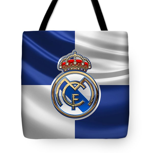 Real Madrid C F - 3 D Badge Over Flag Tote Bag