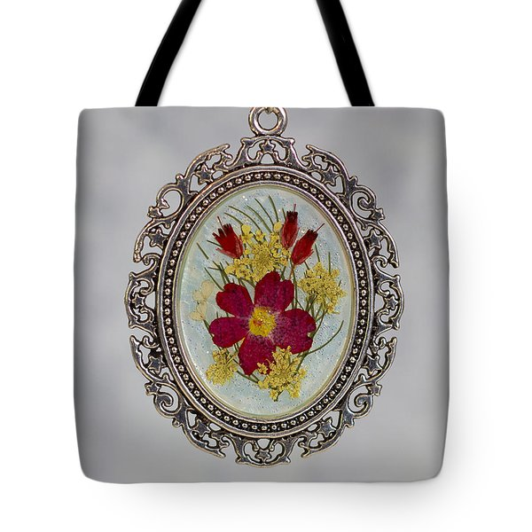 Real Pressed Verbena And Heather Blossoms Tote Bag