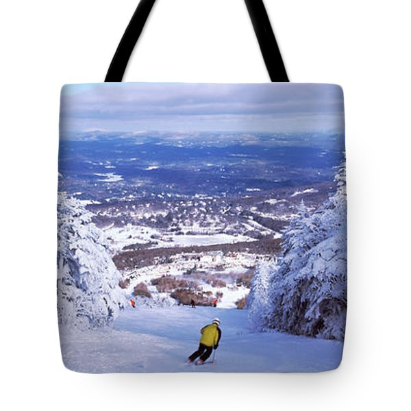 Rear View Of A Person Skiing, Stratton Tote Bag
