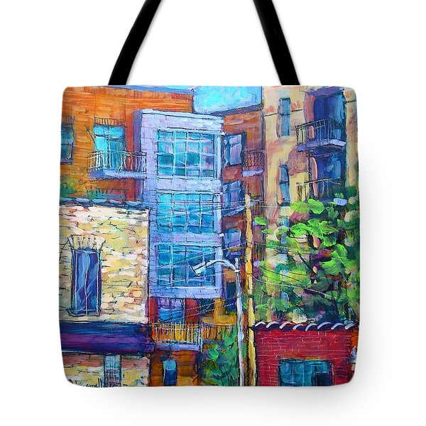 Tote Bag featuring the painting Rear Windows by Les Leffingwell
