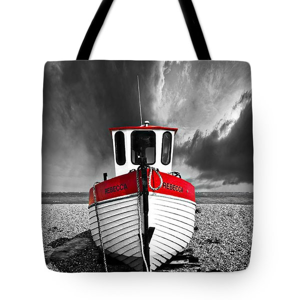 Tote Bag featuring the photograph Rebecca Wearing Just Red by Meirion Matthias