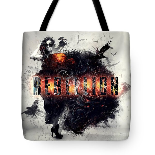 Tote Bag featuring the digital art Rebellion by Mo T