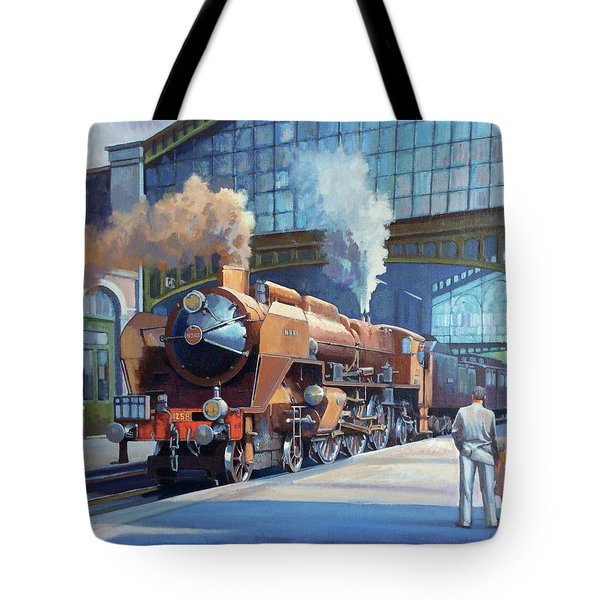 Tote Bag featuring the painting Rebuilt Chapelon Pacific At Calais. by Mike  Jeffries