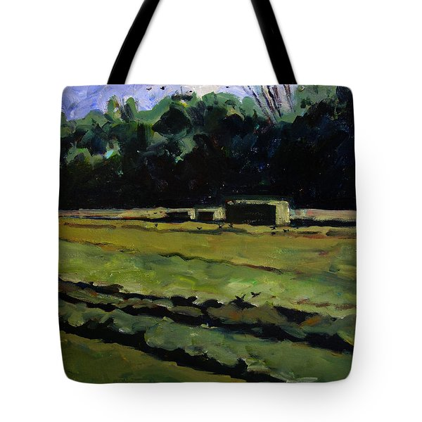 Tote Bag featuring the painting Red Wind Black Birds In A Hay Field by Charlie Spear