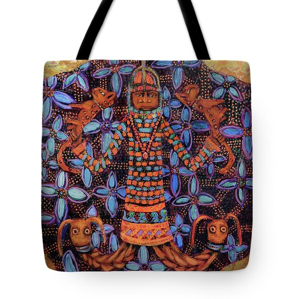 reCalling the Spirit Mudfish and Leopards Tote Bag