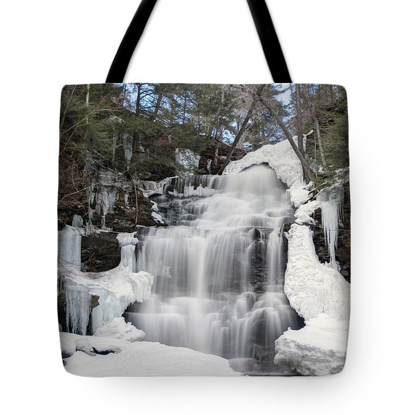 Tote Bag featuring the photograph Receding Winter Ice At Ganoga Falls by Gene Walls