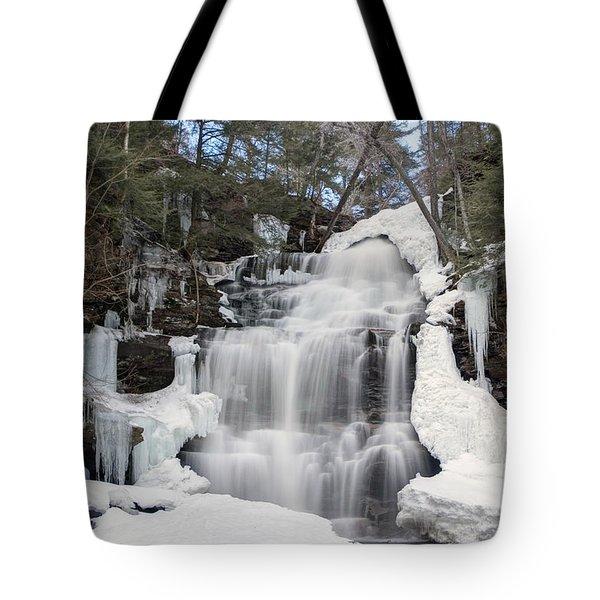 Receding Winter Ice At Ganoga Falls Tote Bag