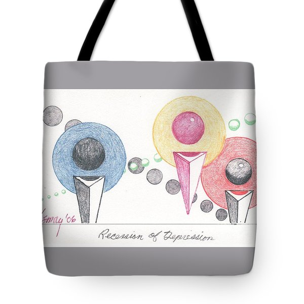 Tote Bag featuring the drawing Recession Of Depression 1 by Rod Ismay