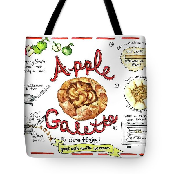 Tote Bag featuring the painting Recipe- Apple Galette by Diane Fujimoto