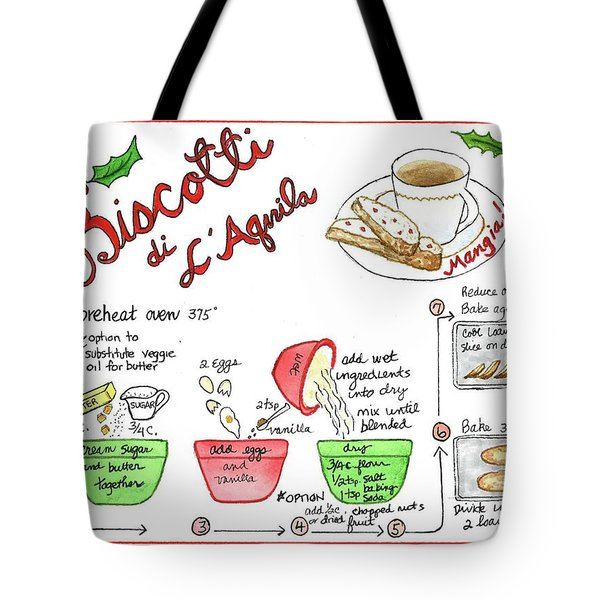 Tote Bag featuring the painting Recipe Biscotti by Diane Fujimoto