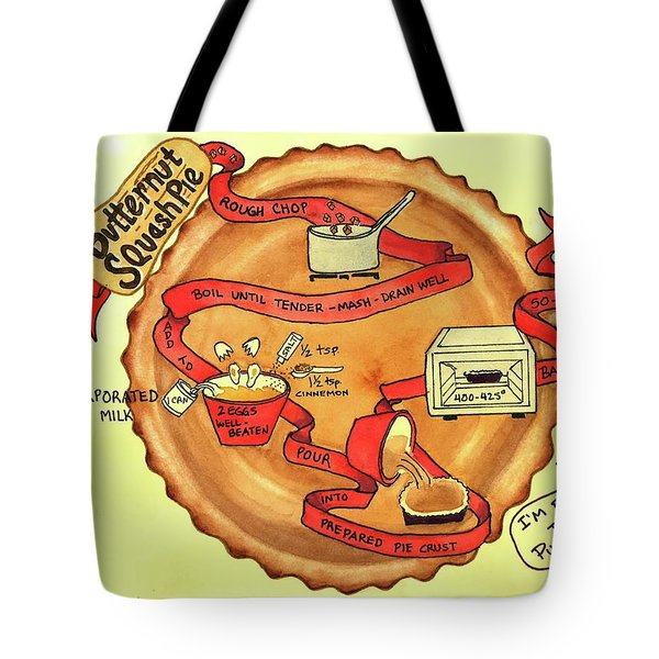 Tote Bag featuring the painting Recipe-butternut Squash Pie by Diane Fujimoto