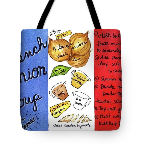 Tote Bag featuring the painting Recipe French Onion Soup by Diane Fujimoto