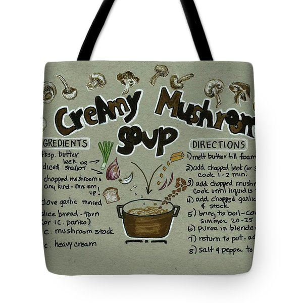 Tote Bag featuring the painting Recipe Mushroom Soup by Diane Fujimoto