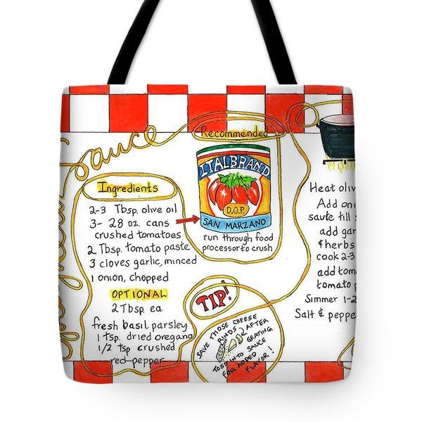 Recipe -spaghetti Sauce  Tote Bag