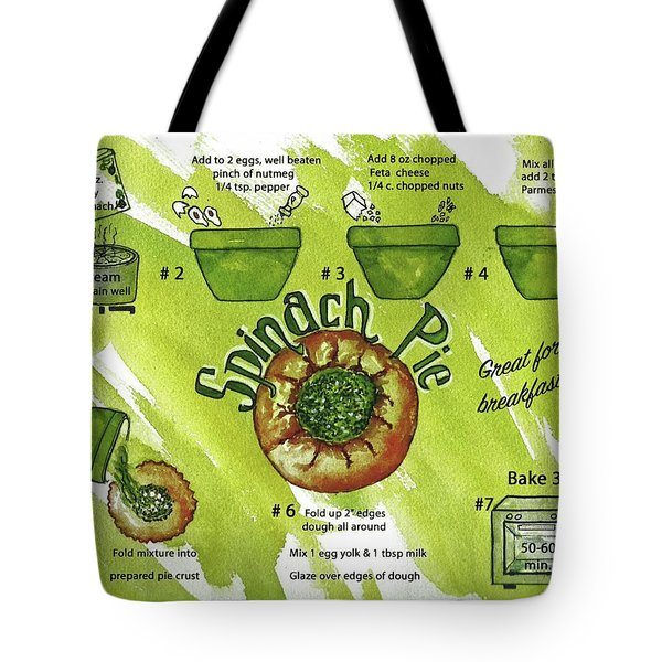 Tote Bag featuring the painting Recipe-spinach Pie by Diane Fujimoto