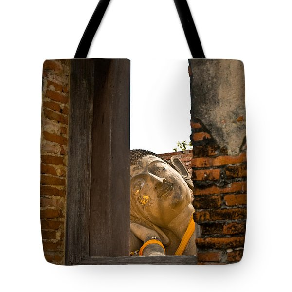 Reclining Buddha View Through A Window Tote Bag by Ulrich Schade