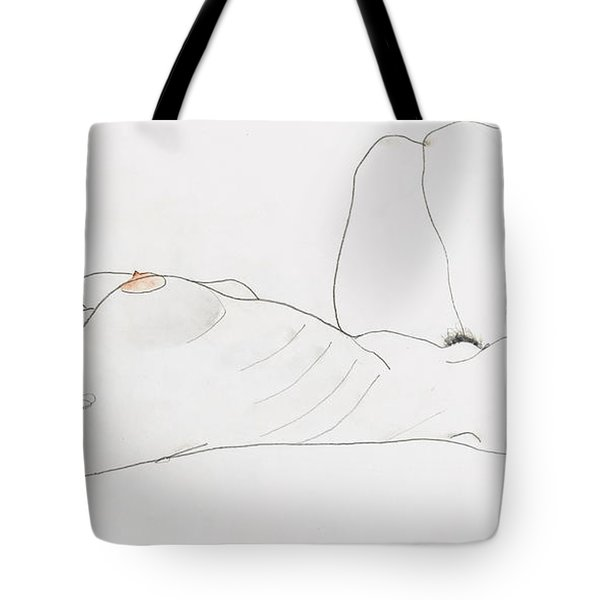 Reclining Female Nude Tote Bag by Egon Schiele