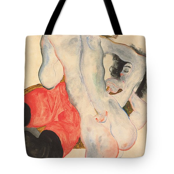Reclining Woman In Red Trousers And Standing Female Nude Tote Bag by Egon Schiele