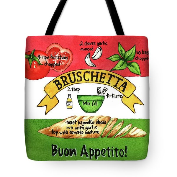 Tote Bag featuring the painting Recpe-bruschetta by Diane Fujimoto
