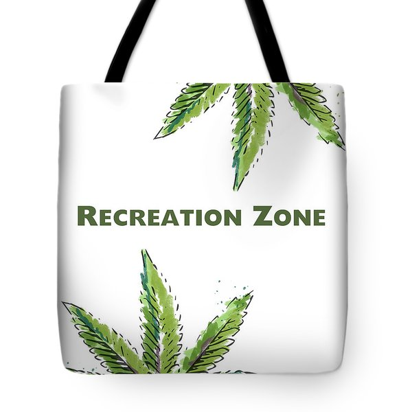 Tote Bag featuring the mixed media Recreation Zone Sign- Art By Linda Woods by Linda Woods