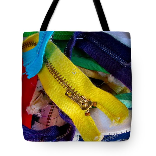 Recycle Your Zippers Tote Bag by Gwyn Newcombe