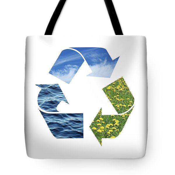 Recycling Sign With Images Of Nature Tote Bag