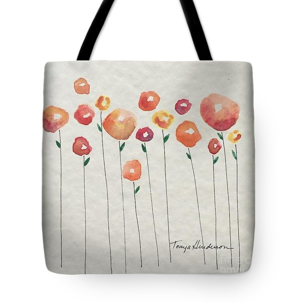 Red Abstract Floral Tote Bag