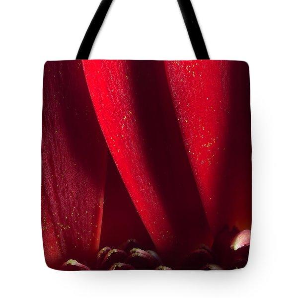 Golden Pollen Red Chrysanthemum Tote Bag by John Williams