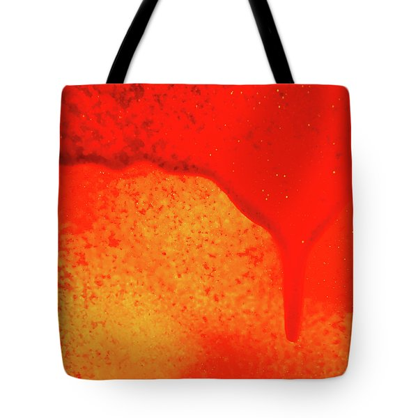 Red Abstract Paint Drips Square II Tote Bag