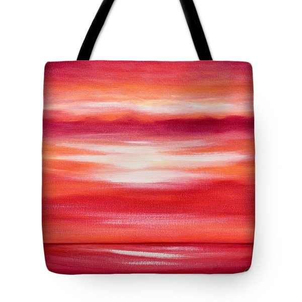 Red Abstract Sunset Tote Bag