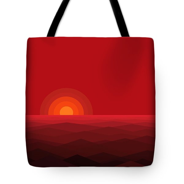 Red Abstract Sunset II Tote Bag by Val Arie
